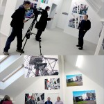 Television interview for exhibition with Gintaras Cesonis, Chief of Lithuanian Photographers Association Kaunas Department. Gintaras Cesonis, Curator Arvydas Zalpys and Steve Yates at opening in new skylight gallery at Meno Parkas Galerija, photograph by Romualdas Požerskis